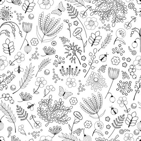 flower patterns: Seamless floral abstract pattern on white background