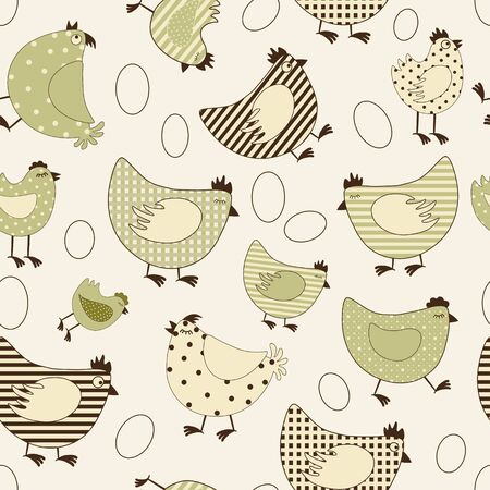 brown egg: Seamless pattern with chicken