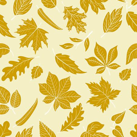 ferruginous: Seamless pattern with yellow leaves