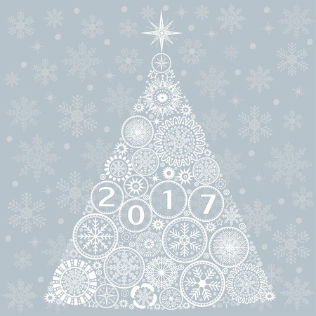 christmas blue: Abstract Christmas tree on blue background Illustration