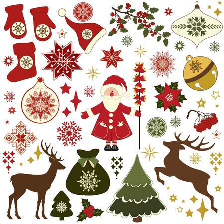 retro christmas: Christmas retro icons, set of Christmas elements Illustration