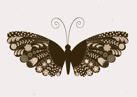 Greeting card with ornamental, floral butterfly