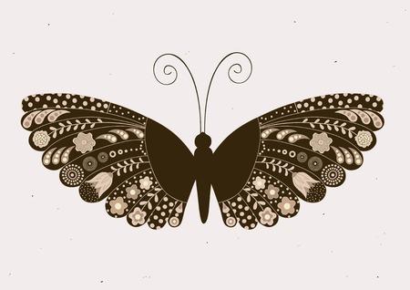 verschnörkelt: Grußkarte mit dekorativen, floralen Schmetterling