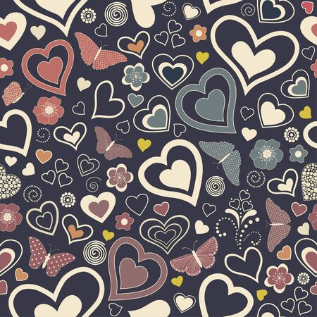 Seamless pattern with colorful, stylized hearts and butterflies
