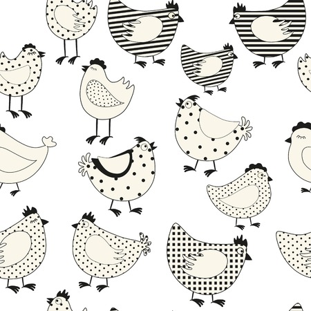 foul: Seamless pattern with chicken cartoon