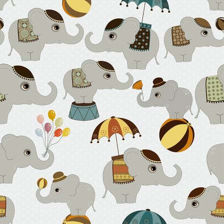 cotton fabric: Seamless pattern with cute elephants