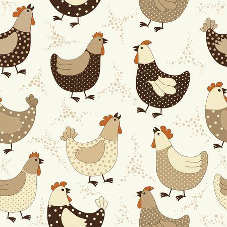 鶏漫画とシームレスなパターン