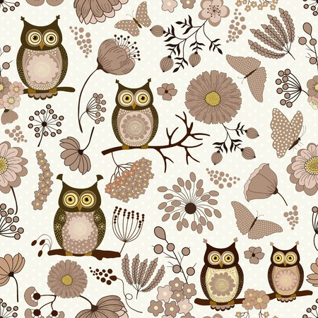 cotton fabric: Floral seamless pattern with cute cartoon owls