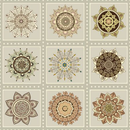 Seamless oriental pattern with mandalas Stock Photo