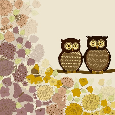 two animals: Cute cartoon pair of owls on branch with flowers Illustration