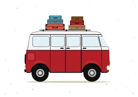omnibus: A Vector illustration with cartoon red bus with suitcases.