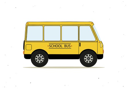 Vector illustration with cartoon yellow school bus