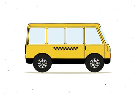 Vector illustration with cartoon yellow taxi bus