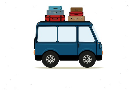 Ilustración vectorial con autobús de dibujos animados azul con maletas