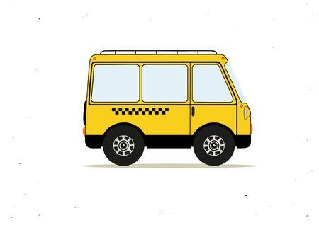 Vektor-Illustration mit Cartoon gelb Taxi-Bus Standard-Bild - 74562367