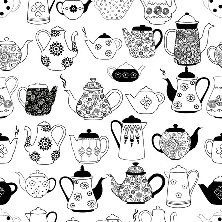 Seamless pattern with kettles on white background Vetores