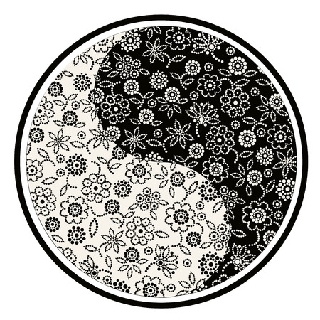 harmony nature: Stylized illustration with yin yang symbol