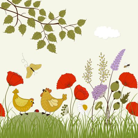 Card with colorful wild flowers and cute birds