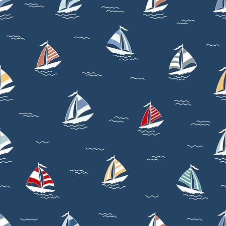 Marien patroon met beeldverhaalboten op blauwe achtergrond