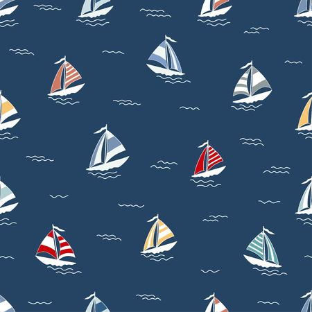 Marine pattern with cartoon boats on blue background