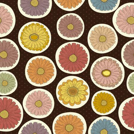 Naadloos bloemenpatroon op bruine achtergrond