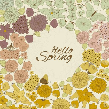 Vector floral card with Hello Spring text. Illustration