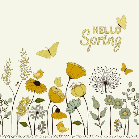 Hello Spring typography with floral pattern, birds and butterflies. Иллюстрация