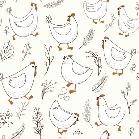 Seamless pattern with cartoon chicken