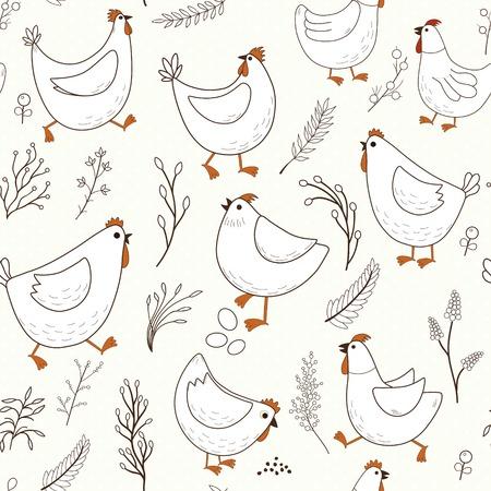 Seamless pattern with cartoon chicken 版權商用圖片 - 96687914