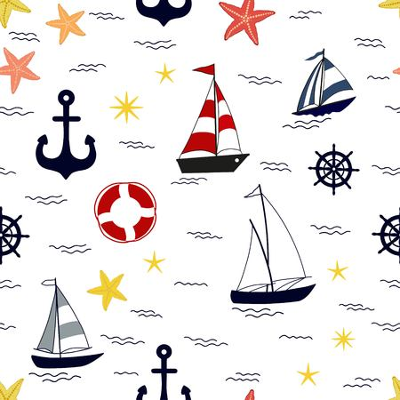 Marine seamless pattern with nautical elements on white background