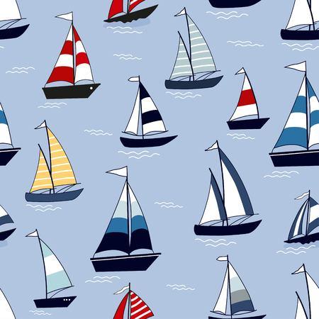 Modèle sans couture marine avec des bateaux de dessin animé sur fond bleu