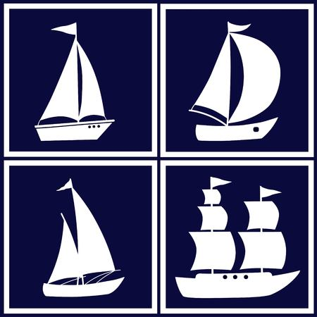Four images with white cartoon boats on biue background