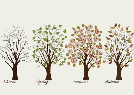 Trees in four seasons - winter, autumn, summer, spring on gray background
