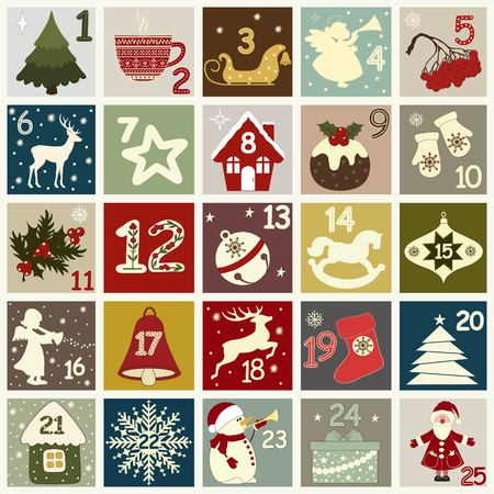 Christmas advent calendar with Christmas symbols. Winter holidays poster