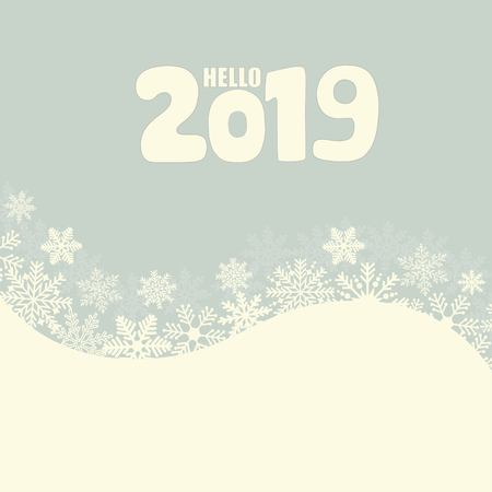 Hello 2019 hand lettering inscription. Winter poster. Illustration