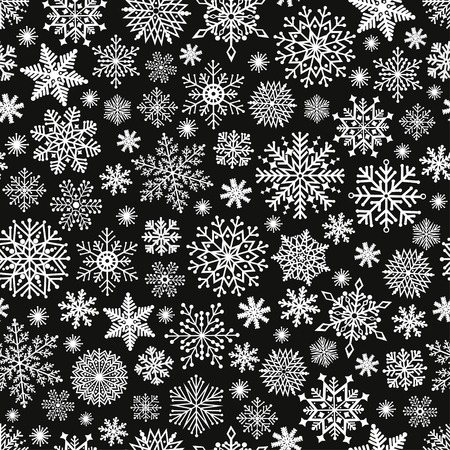 Christmas seamless pattern with cute snowflake on black background
