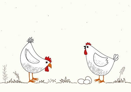 Illustration of two funny cartoon chickens on white background