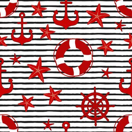 Marina de patrones sin fisuras con elementos náuticos sobre fondo rayado blanco y negro
