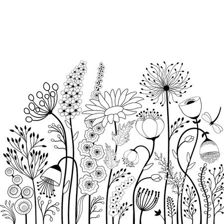 Flores abstractas y mariposas en blanco y negro
