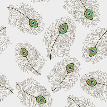 Seamless pattern with peacock feathers on grey background