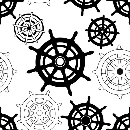Marine seamless pattern with steering wheels on white background