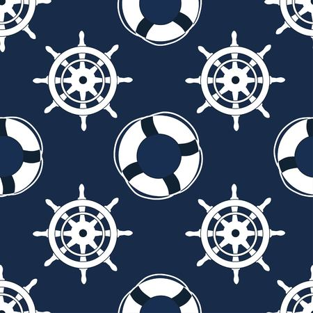 Steering wheels and life buoy seamless pattern  on blue background