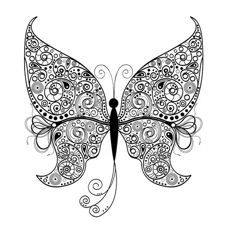 Abstract ornamental butterfly on white background