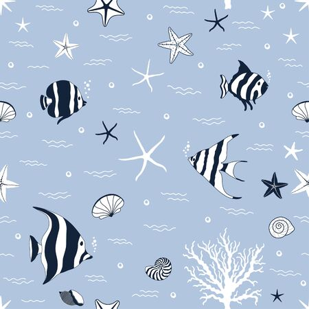 Marine seamless pattern with fishes and conchs and starfishes