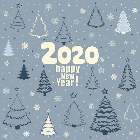 Happy new year 2020! Greeting card with Christmas tree