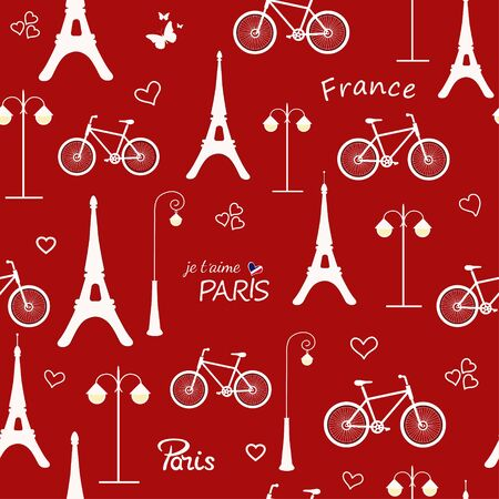 Seamless pattern with hand drawn french design elements on red background
