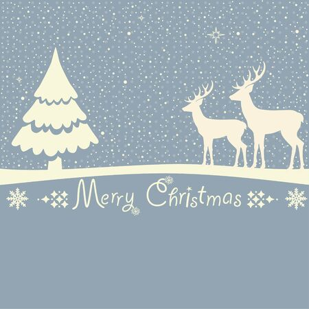 Christmas greeting card with deers on blue background
