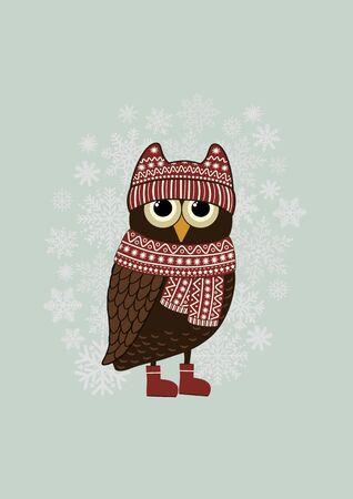 Cartoon owl and snowflake on blue background Ilustração