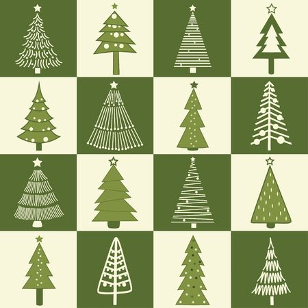 Christmas greeting card with stylized christmas tree