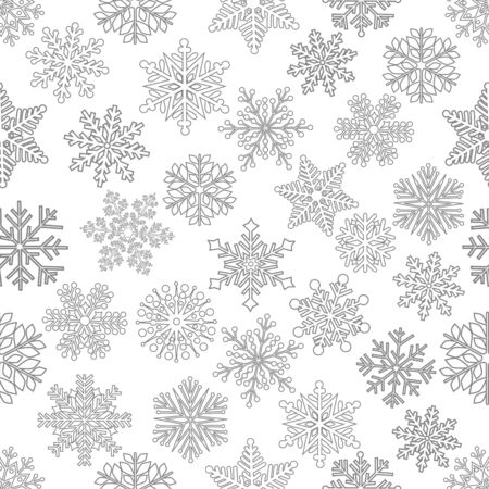 Christmas seamless pattern with cute snowflake on white background